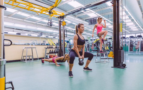 Women group training in a crossfit circuit