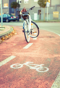 Bicycle road symbol over street bike lane with bicycle