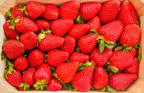 Closeup of strawberries box view from above