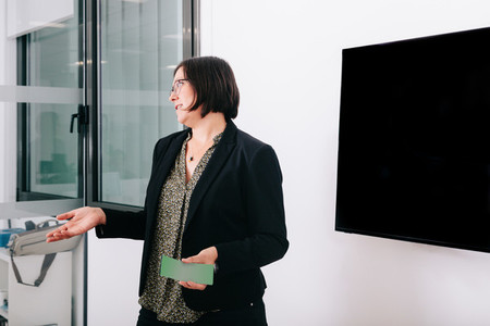 A businesswoman give briefings near the window and television