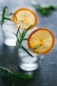 Two shots of tequila cocktails with ice  dried orange slice and fresh tarragon  The concept of a party and celebration