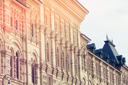 Facade of a historic building in Moscow Russia