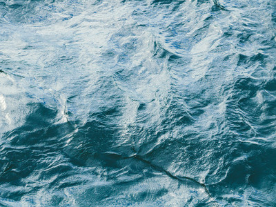 Top view of stormy sea  Blue water backround