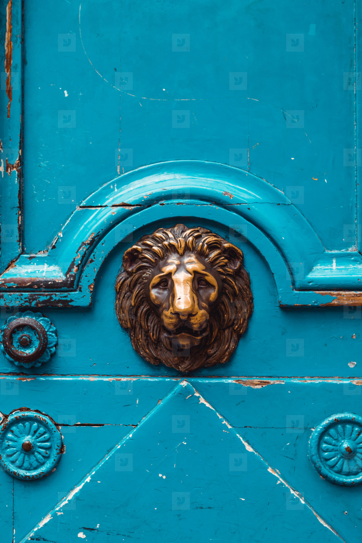 The fragment of an old blue medieval door decorated lion golden ornament