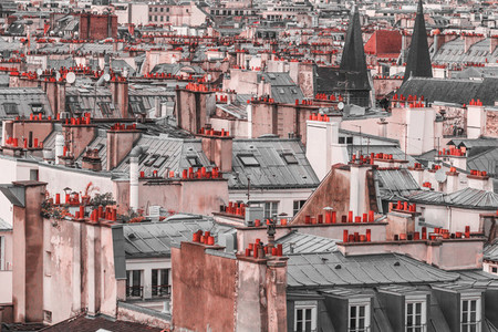Panoramic view of architectural details of roofs in Paris  France in creative retouch