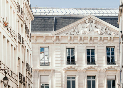 View on architectural details on a facade European building in Paris  France   Neoclassicism architecture style