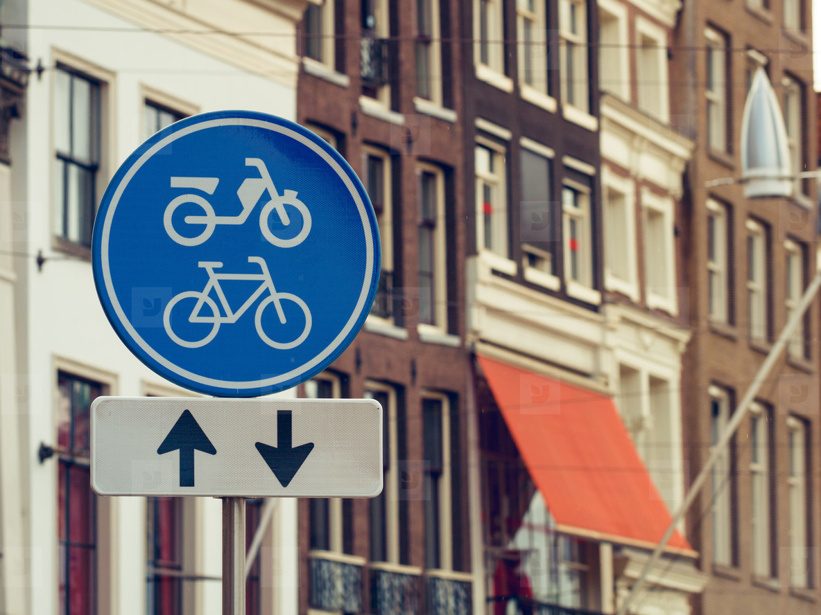 Traffic signs bicycle in Amsterdam  Europe