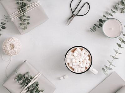 A mug with hot chocolate and marshmallow