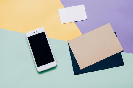 workspace desk with smartphone
