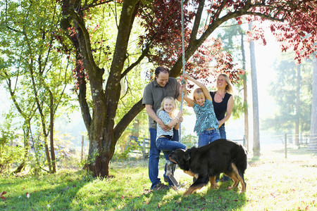 Happy family with dog playing on rope swing