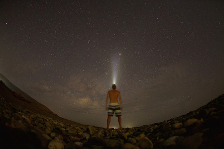 Fish eye lens man standing under starry sky