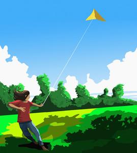 Girl flying kite in sunny park
