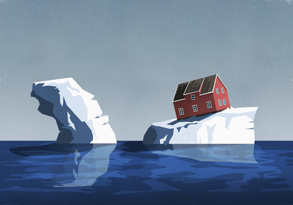 House perched precariously on iceberg