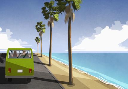 Couple driving along idyllic tropical beach in retro van