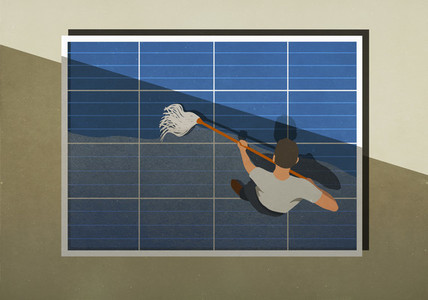 Man mopping solar panels