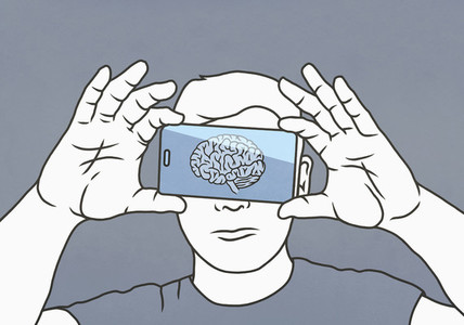 Brain on smart phone screen over mans face