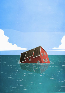 House sinking in sea