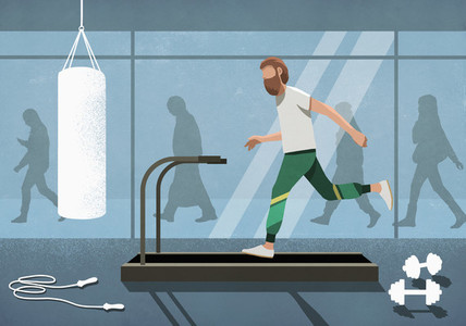 Business people walking behind man running on treadmill