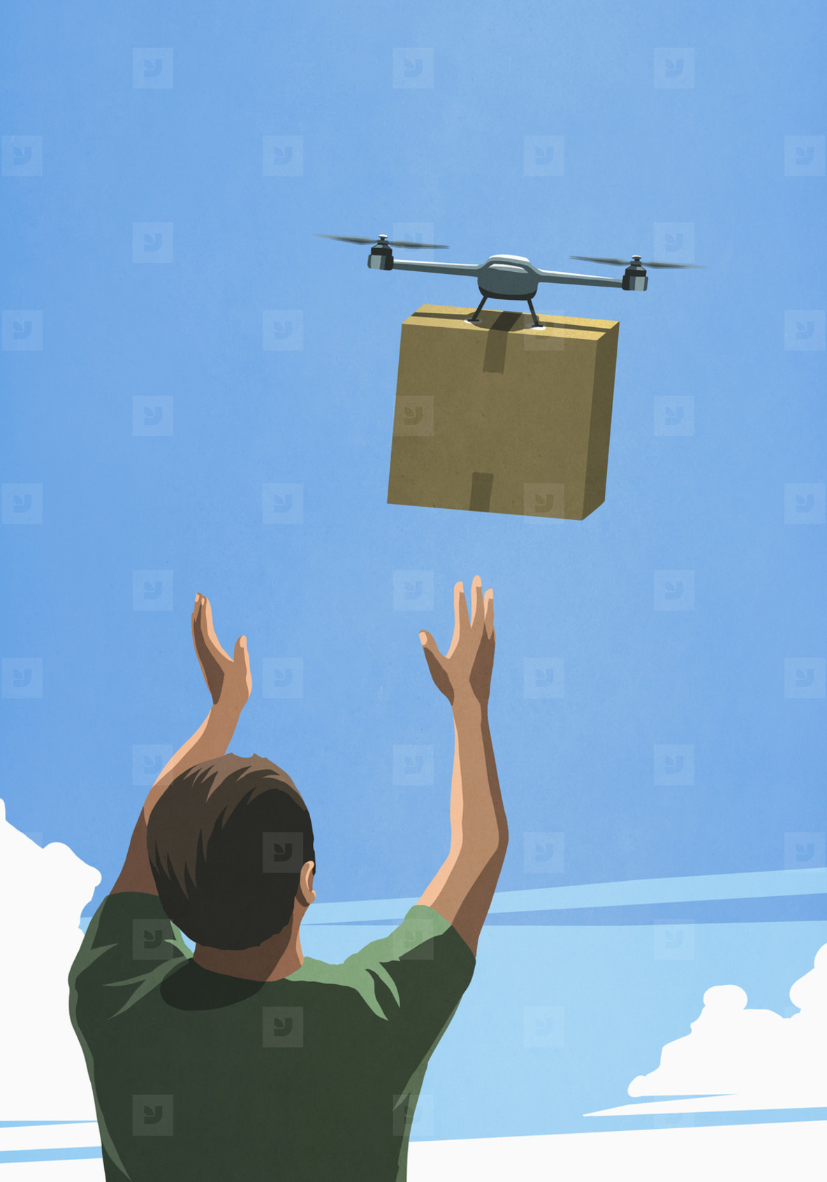 Man releasing drone with cardboard box delivery