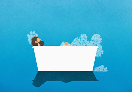 Man enjoying bubble bath