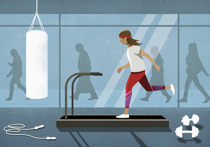Business people walking behind woman running on treadmill