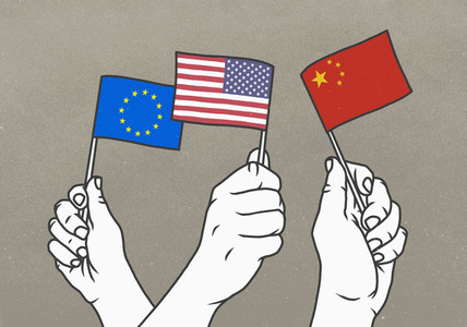 Hands waving small European Union  American and Chinese flags