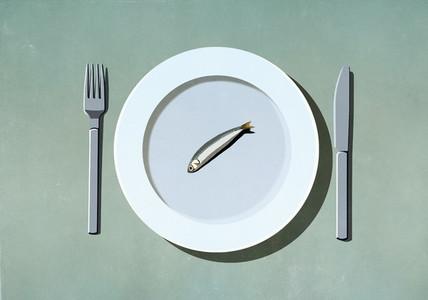 Single sardine on plate