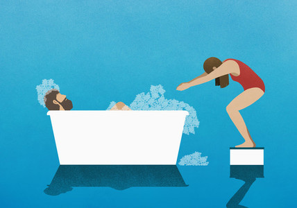 Wife on diving block preparing to dive into bubble bath with husband