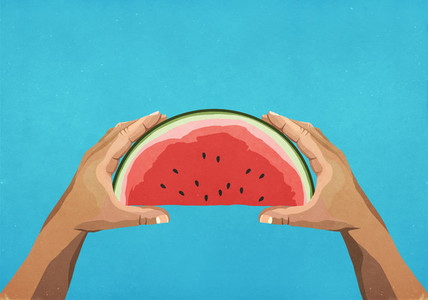 Personal perspective hands holding watermelon slice
