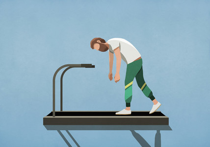Tired man tired man walking on treadmill