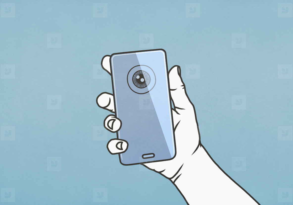 Hand holding smart phone with retina scan