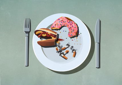 Half eaten hot dog  donut and cigarette butts on plate