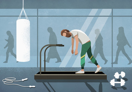 Business people walking behind tired man on treadmill