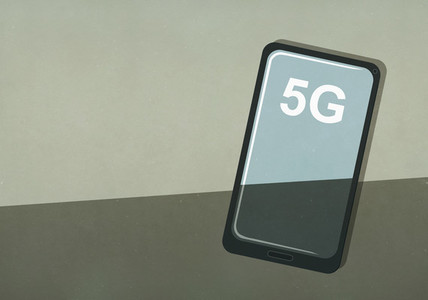 5G text on smart phone screen