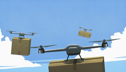 Drones flying in sky delivering cardboard box packages