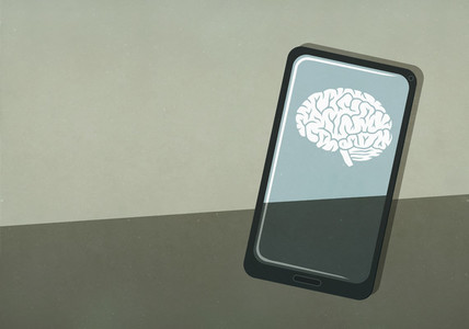 Brain image on smart phone screen