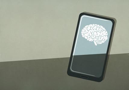 Brain image on smart phone screen
