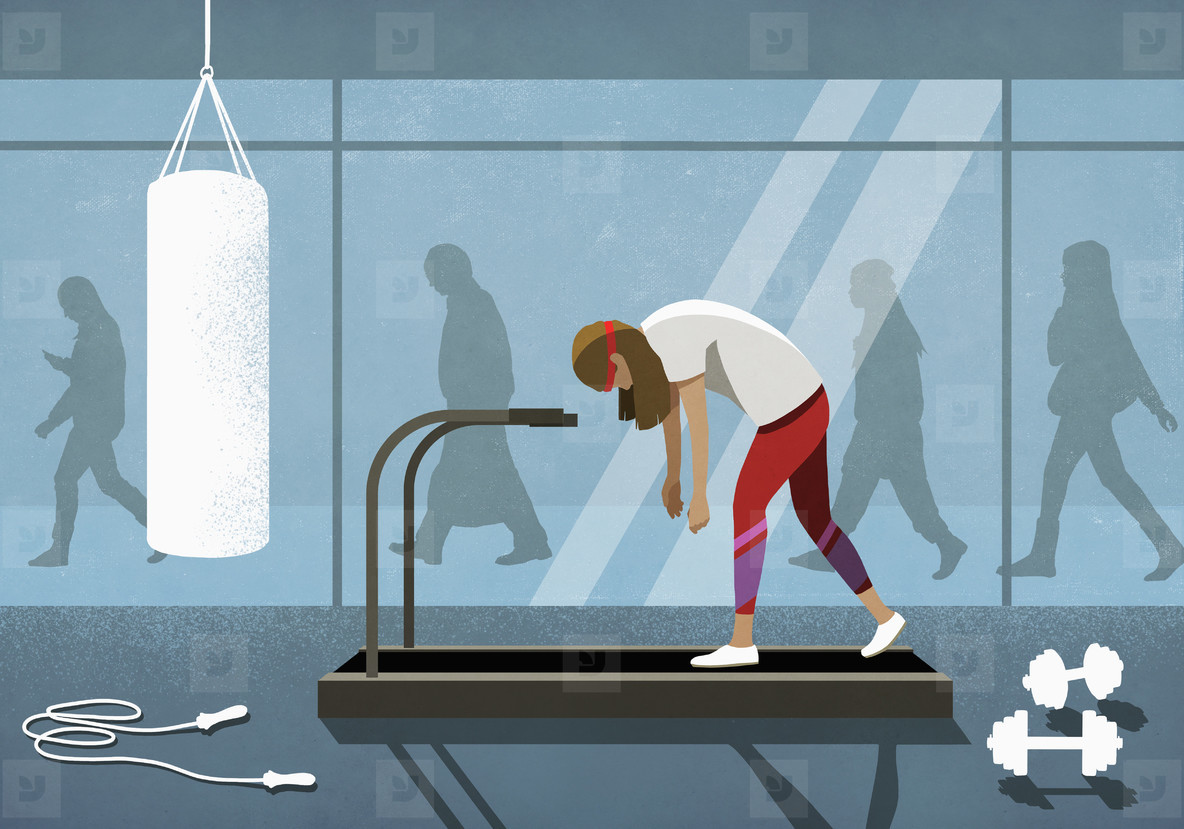 Business people walking behind exhausted woman on treadmill