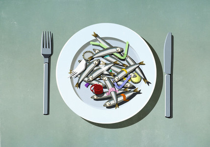 Sardines plastic straws and pollution on plate