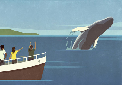 Tourists on boat watching breaching whale in ocean