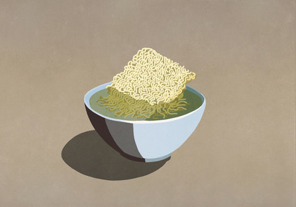 Processed ramen noodles in bowl of water
