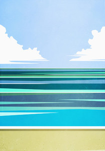 Scenic seascape view tranquil blue ocean
