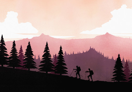 Silhouette backpackers with hiking poles ascending mountain slope