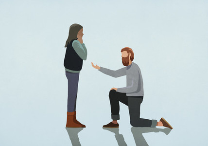 Man kneeling  proposing marriage to woman