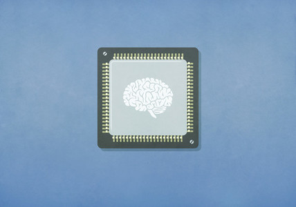 Image of brain on computer chip