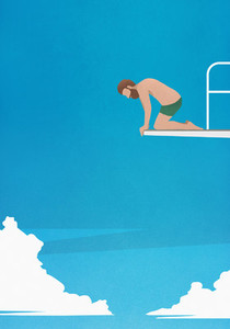 Anxious man at the edge of diving board looking down