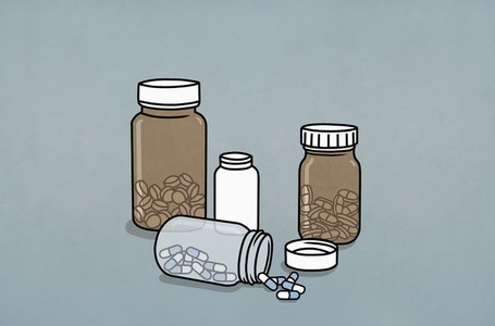 Pills in medicine bottles