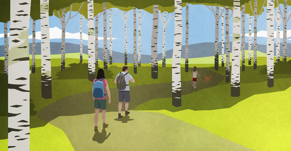 Family with dog hiking among birch trees in idyllic woods