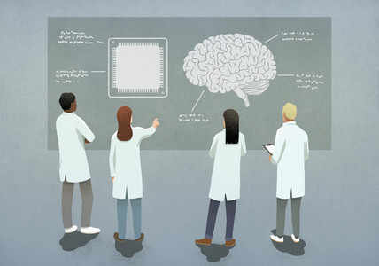 Scientists comparing computer chip and brain diagram