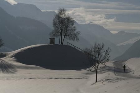 Sunny snowy scenic mountain view Switzerland